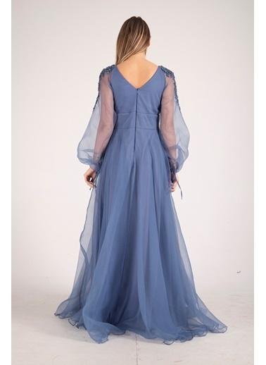 Belamore  Kolları Tül Işleme Detaylı Kloş Abiye&Mezuniyet Elbisesi 1301542.98 İndigo